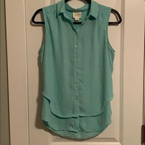 Maeve Turquoise Button Down Layered Blouse